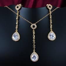 long drop pendant necklace images Aesthetic teardrop long drop pendant necklace and earrings sets jpg