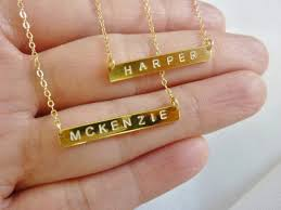 Bar Necklace Personalized Gold Bar Necklace On The Hunt