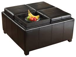 harley leather black 4 tray top storage ottoman contemporary