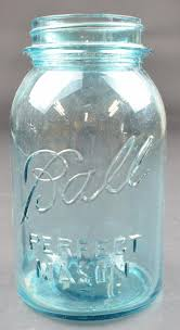 ball mason jar one quart good house keeping lid no 5 blue glass