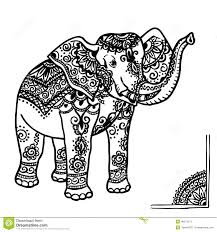 outline drawing of an elephant black with white flowers stock