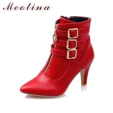womens boots in size 11 meotina shoes boots high heels ankle boots pointed toe