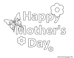 happy mothers day message flower coloring pages printable