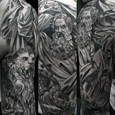 40 lion statue tattoo designs for men carved stone ink ideas