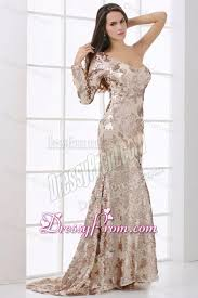 one shoulder lace long sleeve prom dress with sequins