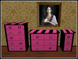 second life marketplace re black u0026 pink dresser nightstand set