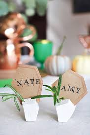 diy place cards diy geometric clay place card holders design sponge