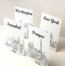 themed table numbers world travel theme table number cards black and white sketches