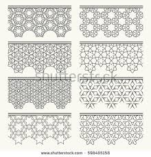 set black lace seamless borders line stock vector 598485158