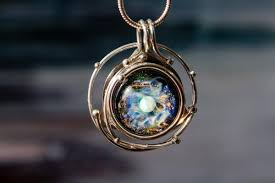 glass necklace pendants images Caged glass galaxy necklace cremation jewelry by charles 429 00 jpg