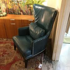 chairs full club wing chair in bantry linen hemp green leather