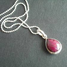 silver drop pendant necklace images Buy genuine red ruby pendant chain silver tear drop pendant jpg