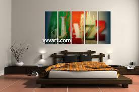 5 piece colorful jazz music wall decor