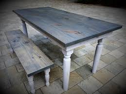 Farm Table Pictures by Beautifully Matched Farm Table U0026 Bench U2013 Classic Gray Tops