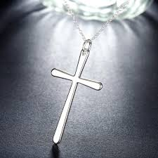 silver cross necklace pendants images Sterling silver cross necklace pendant free shipping love jpg