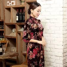 mid length velvet fabric cheongsam qipao chinese dress t0005