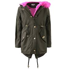 girls kids winter padded parka school coat thick hooded quilted