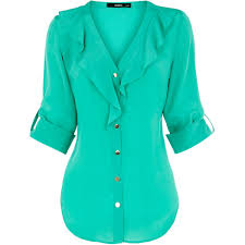 turquoise blouse sleeve silk ruffle blouse found on polyvore repin by