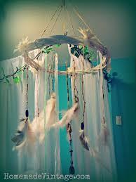 large boho feather chandelier craft diy vintage native look