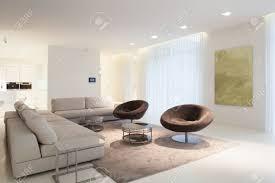living room furniture in modern house horizontal stock photo
