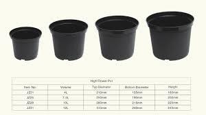 plastic plant pots wholesale black flower pot 2 5 gallon planter