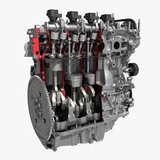 3d 4 cylinder engine block cutaway cgtrader