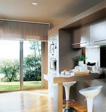 inspiring modern small kitchen design with black mini bar