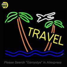 palm tree neon light neon signs for taxi and buses with arrow tours travel icon travel