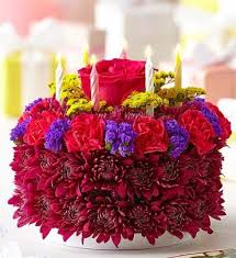 birthday flower cake birthday flower cake purple arranged by a florist in commack ny