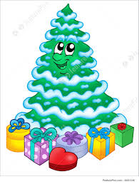 snowy christmas tree with gifts illustration