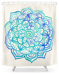society6 watercolor medallion in ocean colors shower curtain