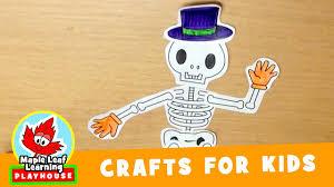 skeleton halloween craft for kids maple leaf learning playhouse