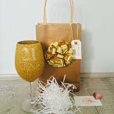 wine glass gift sparkleware personalised wine glass with gift bag and bow