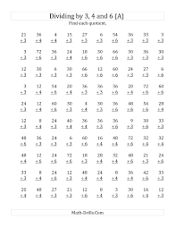 dividing by 3 4 and 6 quotients 1 to 12 a