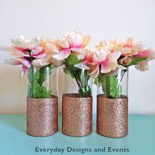 set of 3 beautiful rose gold glitter coated glass cylinder vases