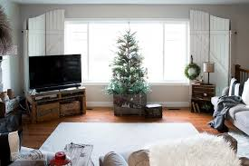 Living Room Tours - rustic christmas tree in a crate with living room tour and some