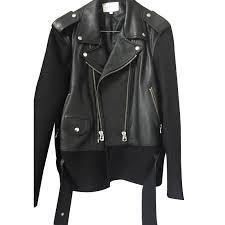 black leather biker jacket sandro biker jackets biker jackets leather black ref 11374 joli