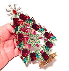 vintage red green pink rhinestone christmas tree village