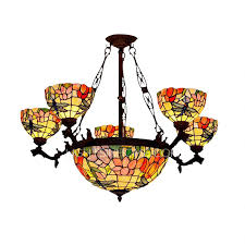 Antique Glass Chandelier Dragonfly Shaped 7 Light Stained Glass Chandelier