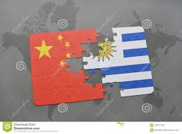 Flag Uruguay Puzzle With The National Flag Of China And Uruguay On A World Map