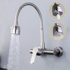 wall mount single handle kitchen faucet 304 sus kitchen faucets brushed wall mounted water tap mixer