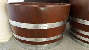 decorative wine barrel planter natural bands