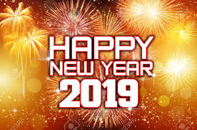 Happy New Year 2019 with colorful fireworks  Smoke and Mirrors
