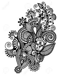 traditional design original hand draw line art ornate flower design ukrainian