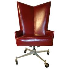 Red Leather Office Chair Cool Red Leather Desk Chair With Unique High Back And Low Arms