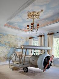 Curtains For Themed Room Bedroom Eclectic Kid Room Travel Theme With Airplane Shape Bed
