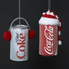 pack of 24 frosted coca cola diet coke can ornaments 3 5