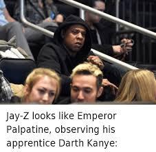 Kanye And Jay Z Meme - jay z looks like emperor palpatine observing his apprentice darth
