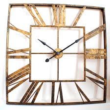 large vintage roman gold square wall clock uk for the home