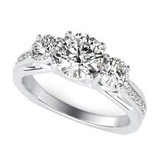 amore three stone trellis square shank engagement ring with side